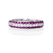 Diamond and Pink Sapphire 18k White Gold Eternity Wedding Band Ring