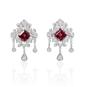 Diamond 18k White Gold and Pink Tourmaline Dangle Earrings