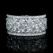 Diamond 18k White Gold Round Brilliant Cluster Wide Band Ring