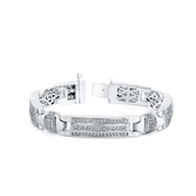 Men's Diamond 14k White Gold Bracelet