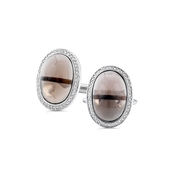 Men's Diamond and Smokey Quartz 14k White Gold Cuff Links