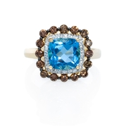 Diamond and Blue Topaz 14k Yellow Gold Ring
