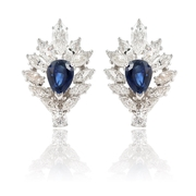 Diamond & Blue Sapphire 18k White Gold Earrings