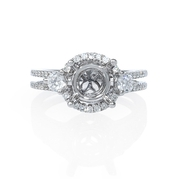 Diamond 18k White Gold Halo Split Shank Engagement Ring Setting