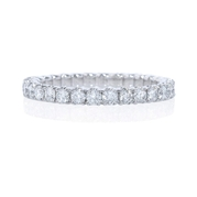 Diamond .95 Carat Round Brilliant Cut Platinum Eternity U Prong Wedding Band Ring