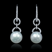 Diamond and South Sea Pearl 18k White Gold Dangle Earrings
