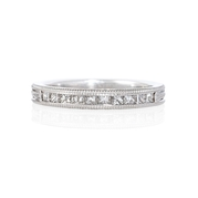 Diamond Antique Style Platinum Wedding Band Ring