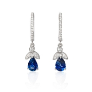 Diamond and Blue Sapphire Antique Style 18k White Gold Dangle Earrings