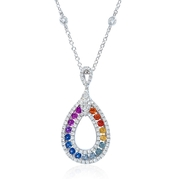 Diamond and Multi-Colored Sapphire 18k White Gold Pendant