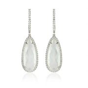Doves Diamond and Mother of Pearl 18k White Gold Dangle Earrings