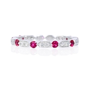 Diamond and Ruby Antique Style 18k White Gold Ring