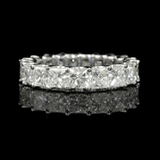 Diamond Princess Cut 18k White Gold Eternity Wedding Band Ring