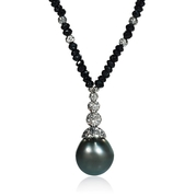 Tahitian Pearl and Black Spinell 14k White Gold Necklace