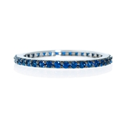 Blue Sapphire 18k White Gold and Black Rhodium Eternity Wedding Band Ring