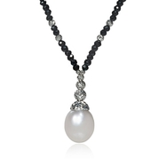 White South Sea Pearl and Black Spinell 14k White Gold Necklace