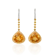 Diamond, Yellow Sapphire and Citrine 18k Two Tone Gold Dangle Earrings