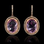 Diamond and Pink Amethyst 14k Rose Gold and Black Rhodium Dangle Earrings
