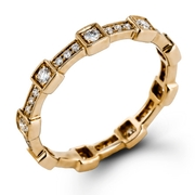 Simon G Diamond Antique Style 18k Yellow Gold Eternity Ring