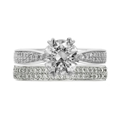 Ritani Diamond Platinum Engagement Ring Setting and Wedding Band Set