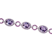 Diamond, Pink Sapphire and Purple Amethyst 18k White Gold and Black Rhodium Bracelet