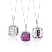 Simon G Diamond and Pink Sapphire 18k White Gold and Black Rhodium Reversible Pendant Necklace