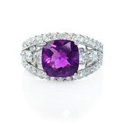 Diamond and Purple Amethyst Antique Style 18k White Gold Ring