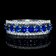 Diamond and Blue Sapphire 18k White Gold and Black Rhodium Ring