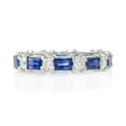 Diamond and Blue Sapphire 18k White Gold Eternity Ring