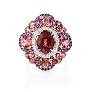 Diamond, Pink Sapphires and Tourmaline 18k White Gold and Black Rhodium Ring