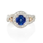 Diamond and Ceylon Blue Sapphire Antique Style 18k Two Tone Gold Ring