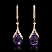 Diamond and Purple Amethyst 18k Rose Gold Dangle Earrings