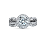 Natalie K Diamond 14k White Gold Engagement Ring Setting and Wedding Band Set