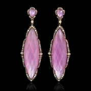 Diamond, Pink Amethyst, White Topaz 18k Rose Gold and Black Rhodium Dangle Earrings
