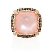 Doves Diamond, Rose Quartz and Mother of Pearl 18k Rose Gold and Black Rhodium Ring