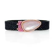 Diamond, Pink Sapphire and Rose Quartz 14k Rose Gold Bracelet