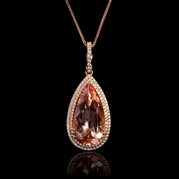 Diamond and Morganite 18k Rose Gold Pendant Necklace