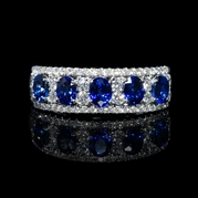 Diamond and Blue Oval Sapphire 18k White Gold Ring