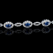 Diamond and Oval Cut Blue Sapphire 18k White Gold Bracelet