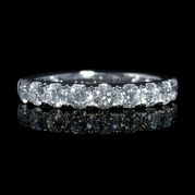 Diamond .91 Carat 18k White Gold Round Brilliant Cut Wedding Band Ring