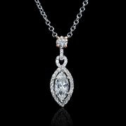 Diamond EGL Certified 18k Two Tone Gold Pendant Necklace