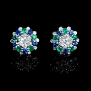 Diamond, Blue Sapphire and Emerald 18k White Gold Earrings with Jackets