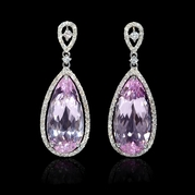 Diamond and Pink Amethyst 18k White Gold Dangle Earrings