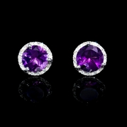 Diamond and Purple Amethyst 18k White Gold Earrings