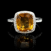 Diamond and Citrine 18k White Gold Ring