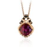Le Vian Chocolatier Diamond and Rasberry Rhodolite 14k Strawberry Gold Pendant Necklace