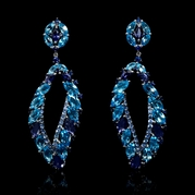 Blue Sapphire, Blue Topaz and Iolite 18k White Gold Dangle Earrings