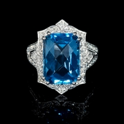 Diamond and Blue Topaz Antique Style 18k White Gold Ring