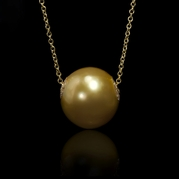 Diamond and Golden South Sea Pearl 18k Yellow Gold Necklace