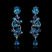 Blue Topaz, Iolite, Green Garnet and Blue Sapphire 18k White Gold Dangle Earrings