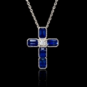 Diamond and Blue Sapphire Antique Style 18k White Gold Cross Pendant